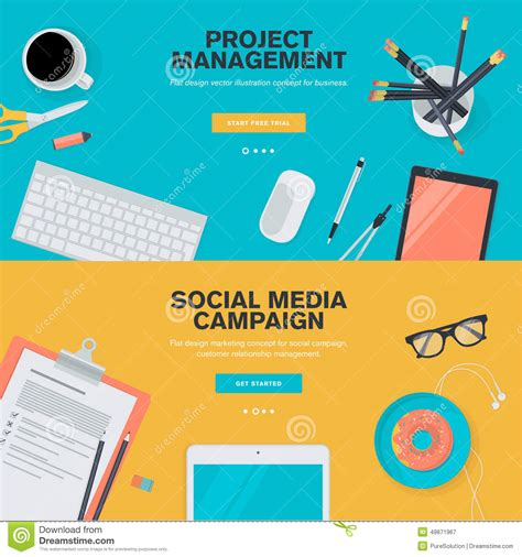 design management online flat design concepts for project management and social