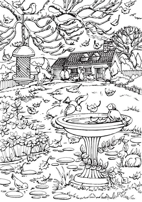 autumn scene coloring pages from creative haven autumn scenes coloring book dover