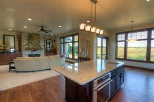 Open Concept Bungalow House Plans Open Concept Great Room Featuring A Field Stone Fireplace