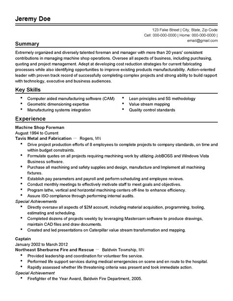 Resume 5s by Professional Machine Shop Foreman Templates To Showcase