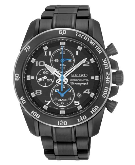Seiko Quartz Snad91p1 Chrono Alarm Black Ion Plated Jam Pria Snad91 lyst seiko s chronograph sportura black ion plated stainless steel bracelet 42mm snae77 in
