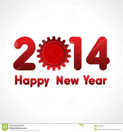 Happy New Year Word Happy New Year Word 2014 With Gear Royalty Free Stock