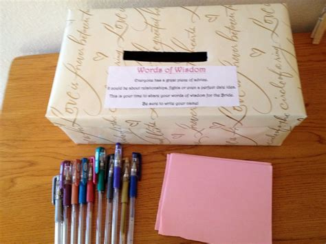 bridal shower words of advice ideas bridal shower idea advice box for the to be wrap a