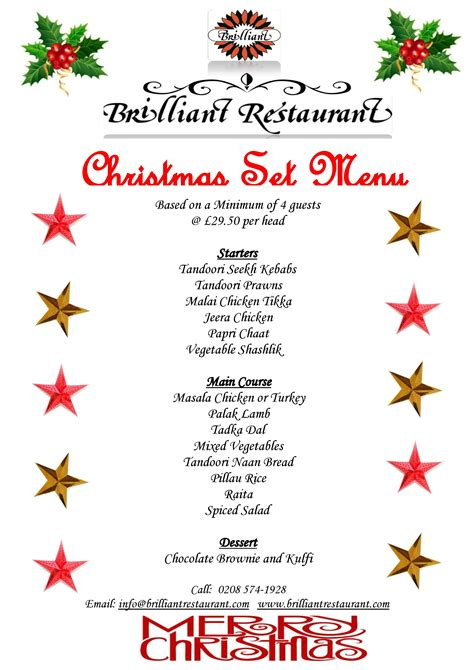 christmas set menu your christmas party at brilliant