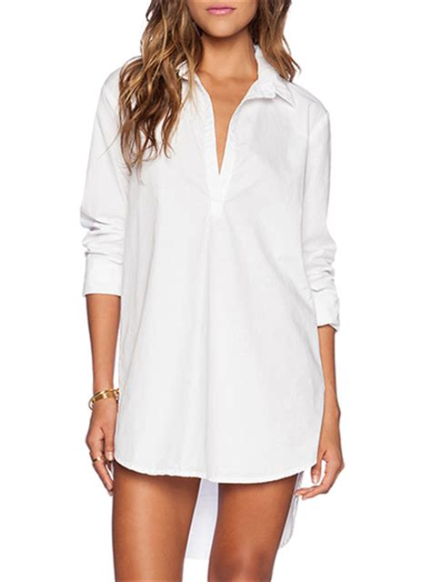 womens dress shirts women s shirt dress white long tail pointed collar