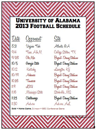 printable schedule for alabama football 2015 university of alabama 2013 printable schedule girl meets