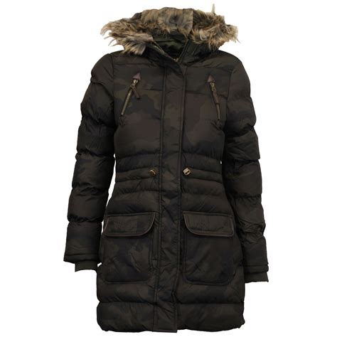 Camouflage Hooded Padded Coat jacket brave soul womens coat camouflage