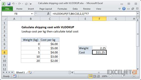 excel formula calculate shipping cost with vlookup exceljet