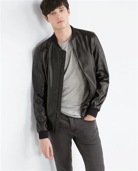 faux leather bomber zara faux leather bomber jacket in black for lyst