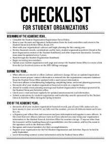 student organization checklist