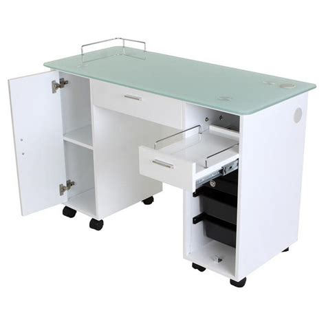 New Lockable White Nail Salon Manicure Table Mf 18w Ebay White Manicure Table