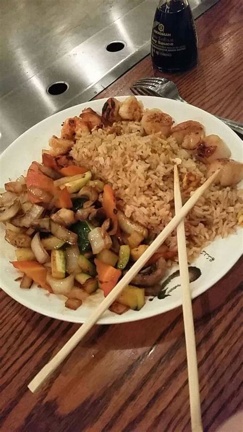 fujiya house lunch shrimp scallops teppanyaki comes with veggies white or fried rice and