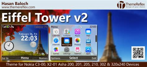 themes nokia c3 paris eiffel tower theme for nokia c3 00 x2 01 asha 200 201