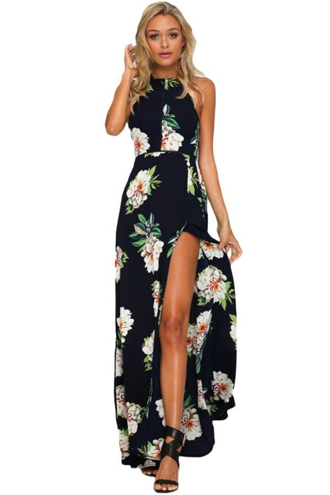 Maxi Bohemian Dress Alia Black black floral cutout back halter split maxi boho dress inxcy