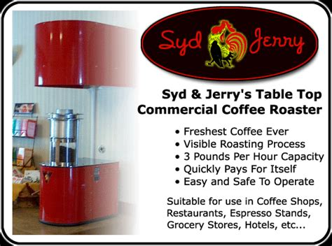 syd jerry s table top commercial coffee roaster