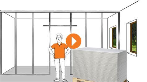 Trennwand Einbauen Kosten by Gipskartonplatten Anbringen Erkl 228 Rvideo Obi