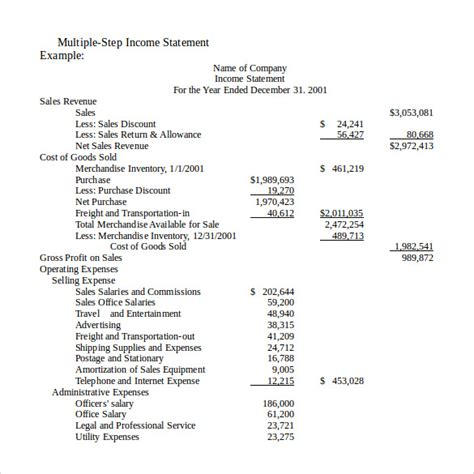 format of income statement sle income statement 12 free documents in pdf word