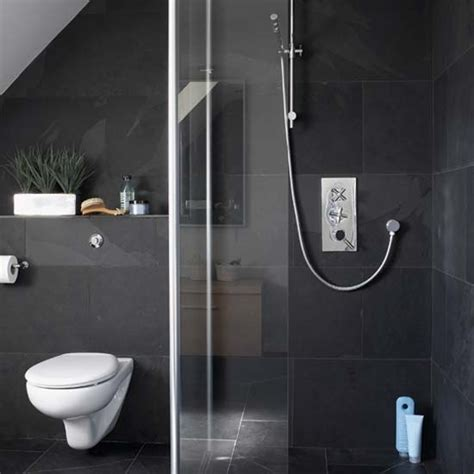 dark tile bathroom ideas monochrome ensuite shower room housetohome co uk