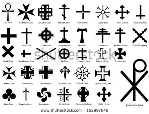 different types crosses their meanings stock vector