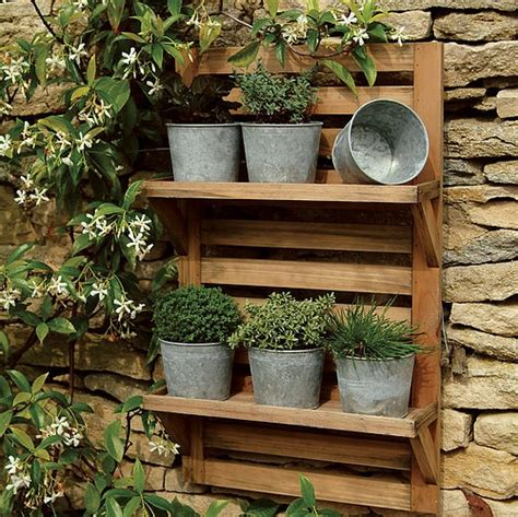 wall mounted herb garden wall mounted herb rack galvanized pots garden outdoors pinterest