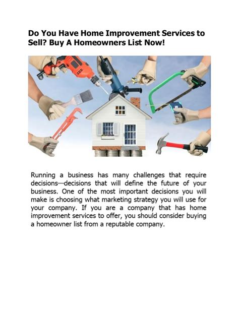 do you home improvement services to sell