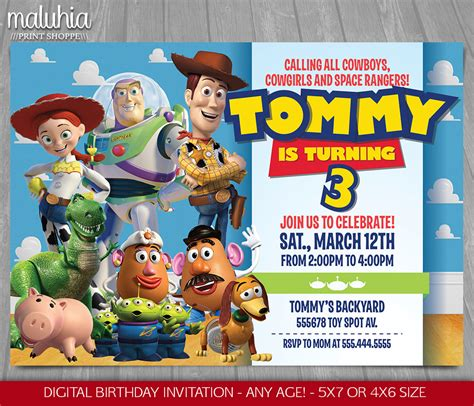story birthday card template story invitation story invite disney pixar