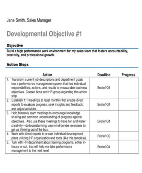 6 Sle Sales Action Plans Sle Templates Sales Development Plan Template