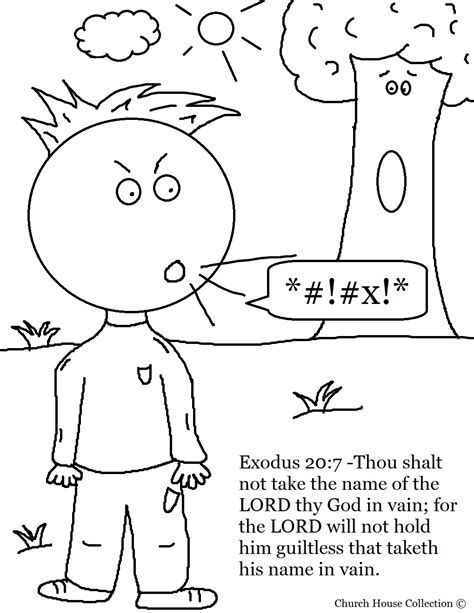 Thou Shalt Not Take Lords Name In Vain Coloring Page Coloring Pages 10 Commandments
