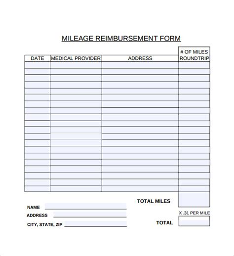 9 Mileage Reimbursement Form Download For Free Sle Templates Mileage Reimbursement Form Template