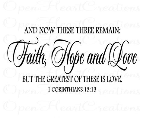 christian vinyl wall decal faith hope love corinthians 13