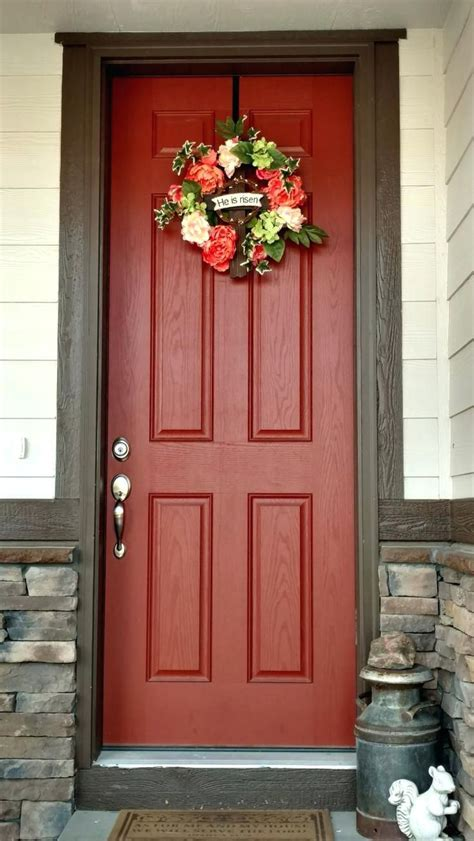 color for and chocolate brown house with burnt orange door and