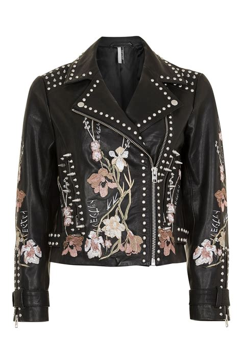 embroidery jacket embroidered leather jacket topshop usa