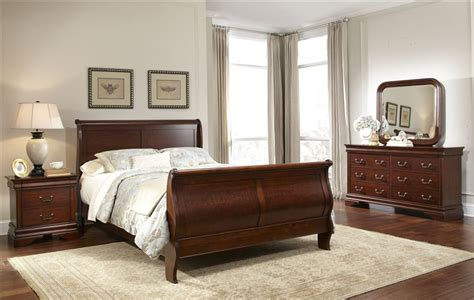 Slay Bed Set Carriage Court Sleigh Bed 6 Piece Bedroom Set In Mahogany