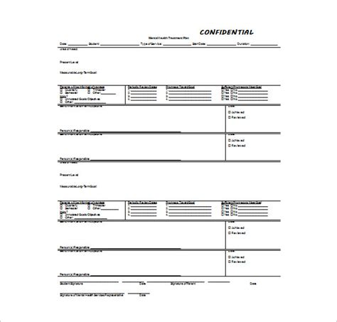 treatment sheet template treatment plan template 8 free word pdf documents