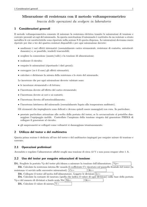 misure elettriche dispense misurazione di resistenza metodo volterometrico