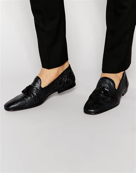 loafers in black lyst asos tassel loafers in black leather with crocodile