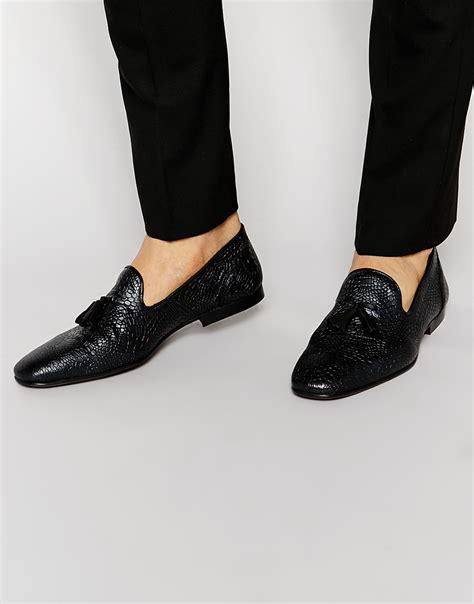 Asos Tassel Loafers In Black by Lyst Asos Tassel Loafers In Black Leather With Crocodile