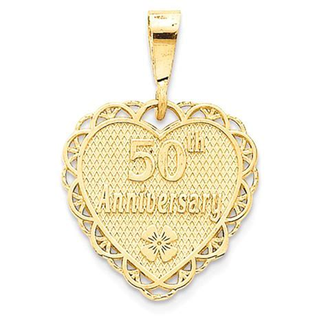 14kt Yellow Gold 3/4in 50th Anniversary Heart Pendant C1673