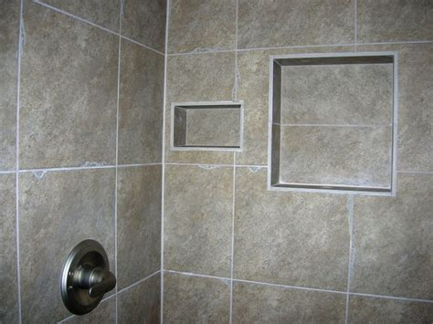 Ceramic Tile Shower Shelf by Square Gray Ceramic Tiled Shower Shelf Combined With Soap