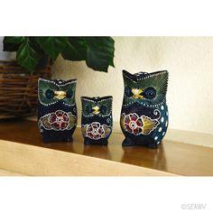 Burung Hantu Owl Ukiran Kayu 1 Set 3 Pcs Asli Handmade om and home on