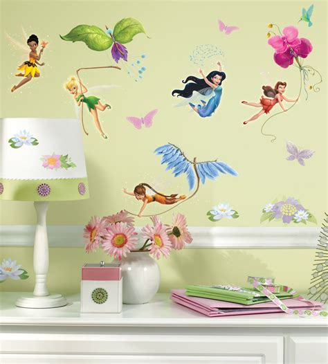 disney wall sticker curtain bath outlet roommates 174 disney fairies peel stick wall decals