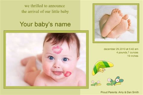 Baby Birth Card Template by Baby Birth Announcement 202 2 90 5psd Photo