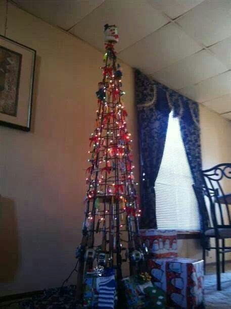 fishing pole christmas tree i