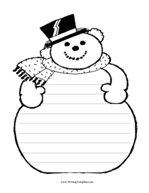 free printable snowman writing template snowman printables templates new calendar template site
