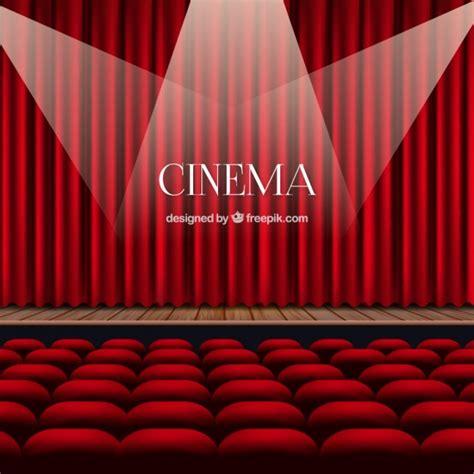 fondo cinema cortinas vermelhas com luzes embutidas e poltronas baixar vetores premium