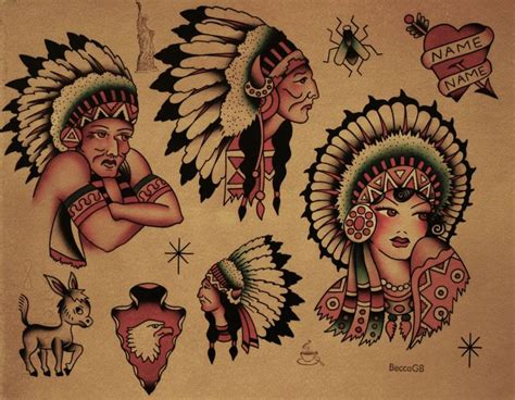 tattoo flash native american sailor jerry flash i do love the native american tattoos