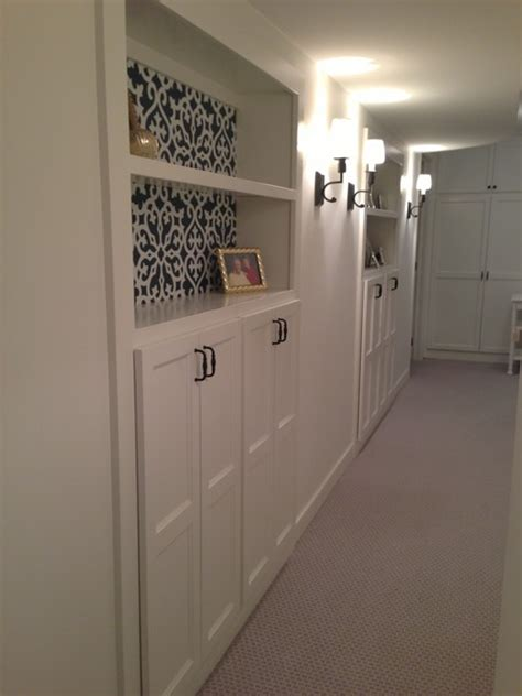 built in hallway cabinets basement remodel adding more storage in a small space
