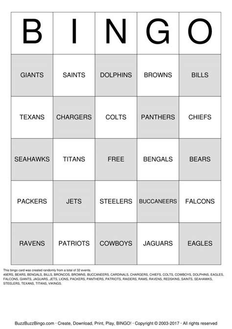 FOOTBALL TEAMS Bingo Cards to Download, Print and Customize!