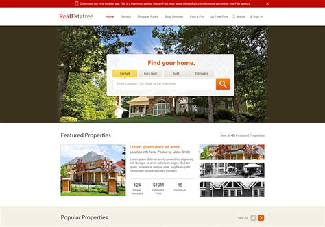 Real Estate Website Design Free Psd Template Psdexplorer Realtor Website Design Templates