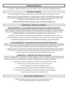Exles Of Resume Writing by Exle Technical Writer Resume Sle